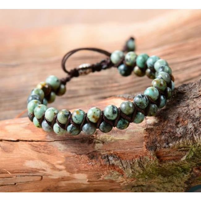 Earth Spirit Braided Woven Natural Stone Bracelet - African