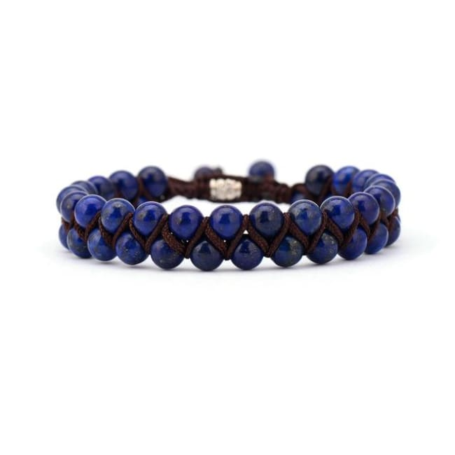 Earth Spirit Braided Woven Natural Stone Bracelet - Lapis