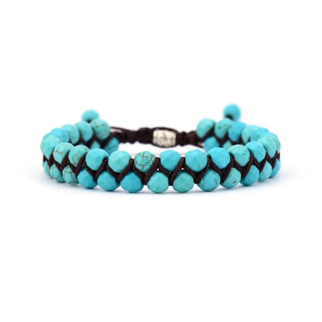 Earth Spirit Braided Woven Natural Stone Bracelet - Turquoise