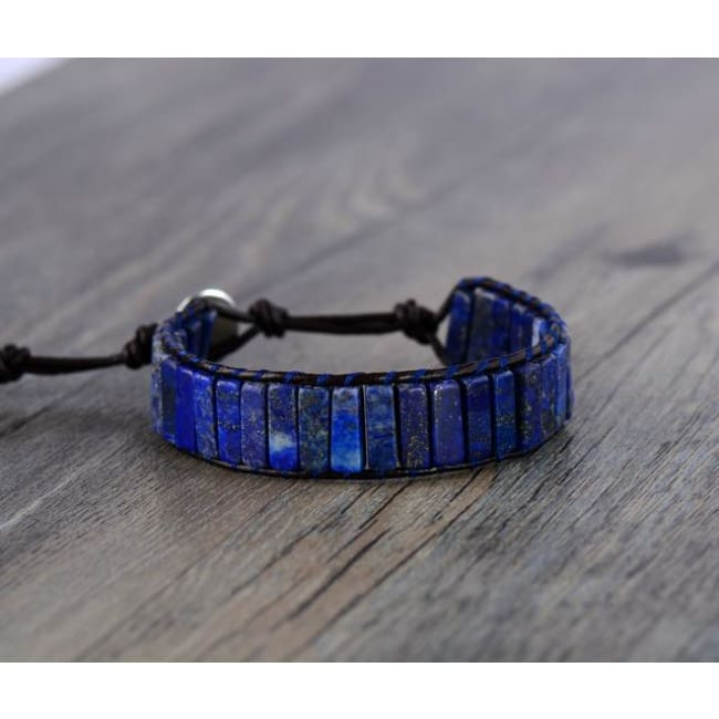 Earth Spirit Lapis Lazuli Leather Wrap Bracelet
