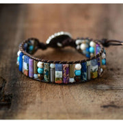 Earth Spirit Mixed Natural Semi-Precious Stone Leather Wrap Bracelet