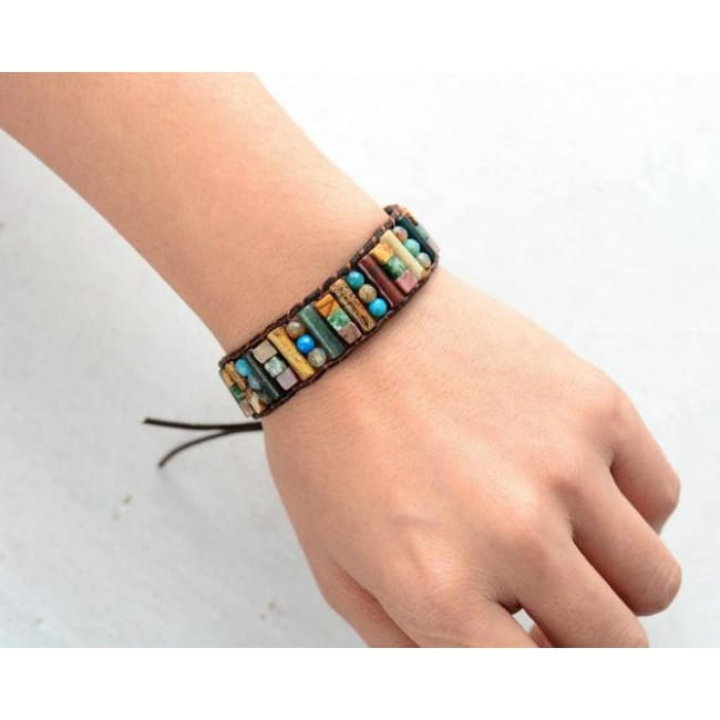 Earth Spirit Mixed Semi-Precious Stone Leather Wrap Bracelet