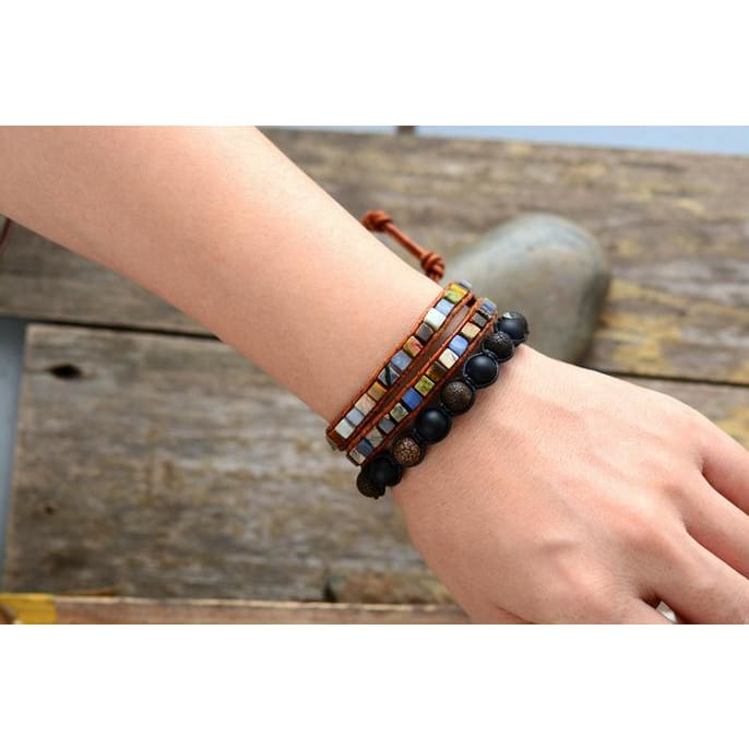 Earth Spirit Natural Stone Two Strand Leather Wrap Bracelet
