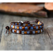 Earth Spirit Natural Stone Two Strand Leather Wrap Bracelet - Cool