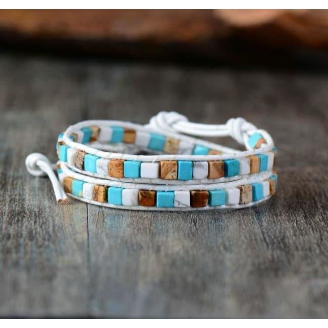Earth Spirit Natural Stone Two Strand Leather Wrap Bracelet - Fantasy