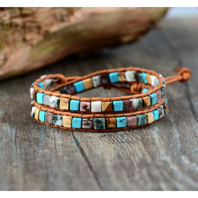 Earth Spirit Natural Stone Two Strand Leather Wrap Bracelet - Hot Fashion