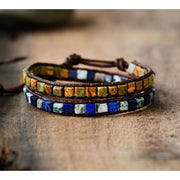 Earth Spirit Natural Stone Two Strand Leather Wrap Bracelet - Mysterious