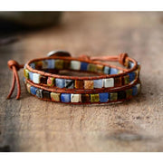 Earth Spirit Natural Stone Two Strand Leather Wrap Bracelet - Tribal
