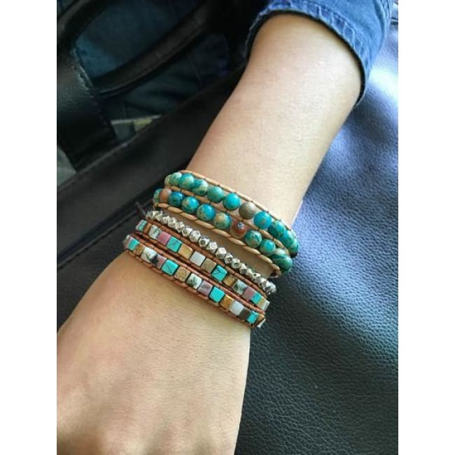 Earth Spirit Semi-Precious Stone Leather Wrap Bracelets