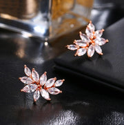 Cubic Zirconia Flower Shaped Earrings