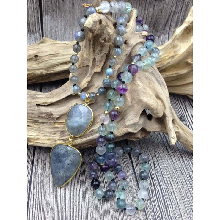 Fluorite And Labradorite Mala Bead Necklace