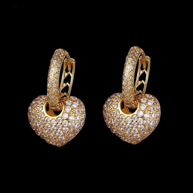 Cubic Zirconia Heart Shaped Earrings