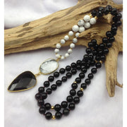 Howlite And Obsidian Mala Bead Necklace