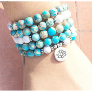 Howlite And Turquoise Mala Bead Bracelet Or Necklace