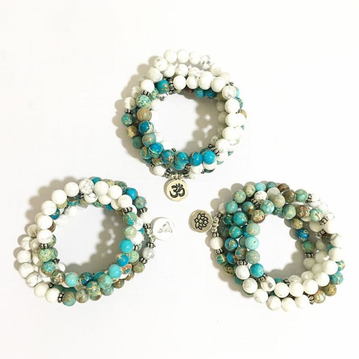 Howlite And Turquoise Mala Bead Bracelet Or Necklace - Buddha Charm