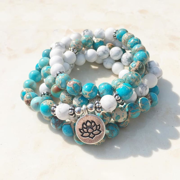 Howlite And Turquoise Mala Bead Bracelet Or Necklace - Lotus Charm