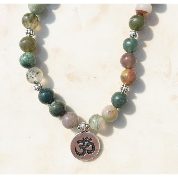 Indian Agate Mala Bead Bracelet Or Necklace