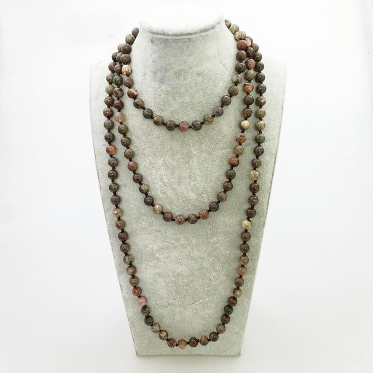 Jasper Mala Bead Necklace