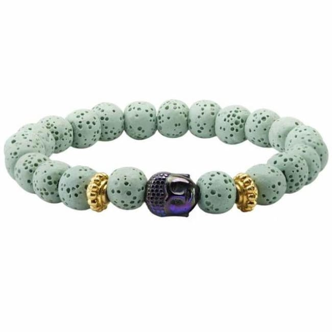 Lava Rock Mala Bead Bracelet - Light Green