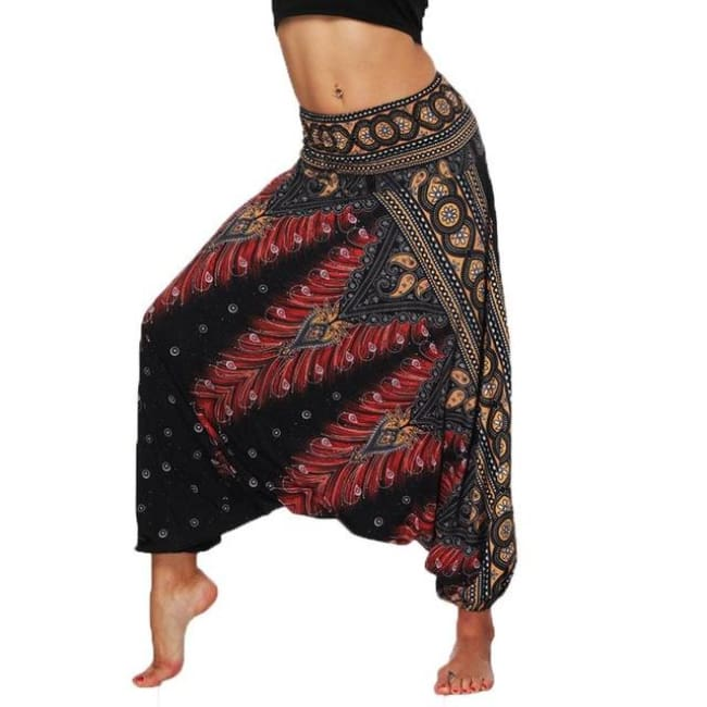 Low Leg Harem Pants One-Size Fits All So Comfortable! - Black Gold & Red / One Size
