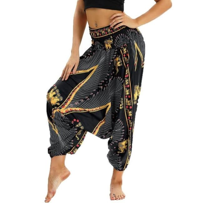 Low Leg Harem Pants One-Size Fits All So Comfortable! - Black & Yellow / One Size