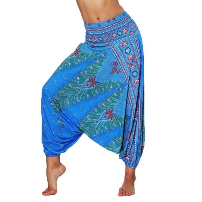 Low Leg Harem Pants One-Size Fits All So Comfortable! - Blue / One Size