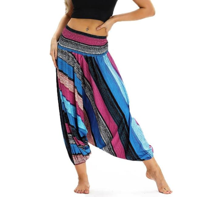 Low Leg Harem Pants One-Size Fits All So Comfortable! - Blue & Black Striped / One Size