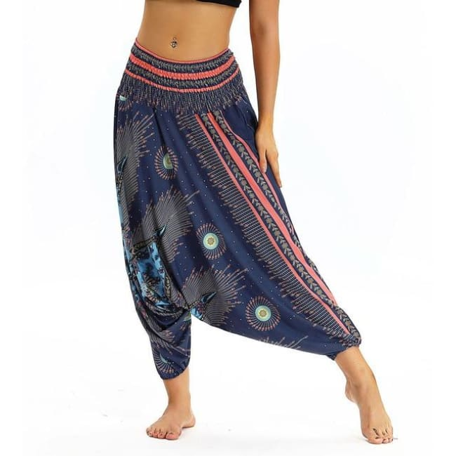 Low Leg Harem Pants One-Size Fits All So Comfortable! - Faded Navy / One Size