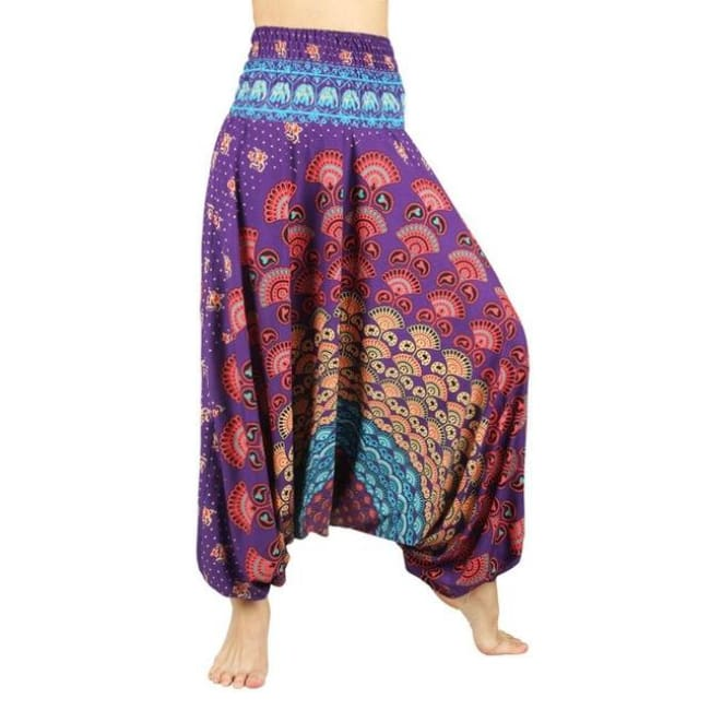 Low Leg Harem Pants One-Size Fits All So Comfortable! - Peacock Purple / One Size