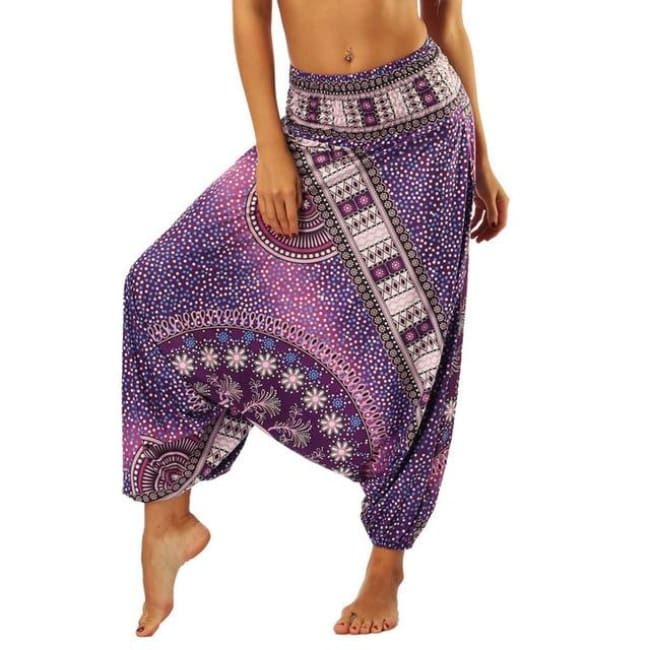 Low Leg Harem Pants One-Size Fits All So Comfortable! - Purple Starfield / One Size