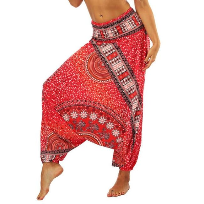 Low Leg Harem Pants One-Size Fits All So Comfortable! - Red / One Size