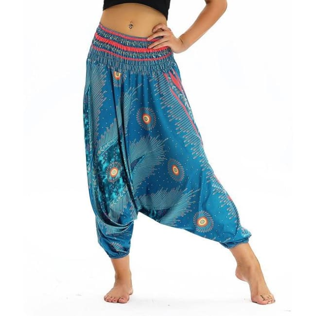 Low Leg Harem Pants One-Size Fits All So Comfortable! - Teal / One Size