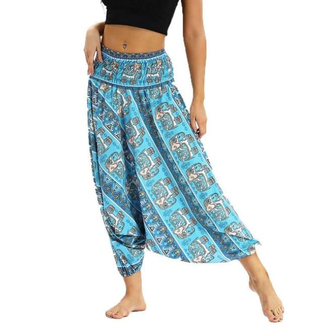 Low Leg Harem Pants One-Size Fits All So Comfortable! - Teal Elephant / One Size