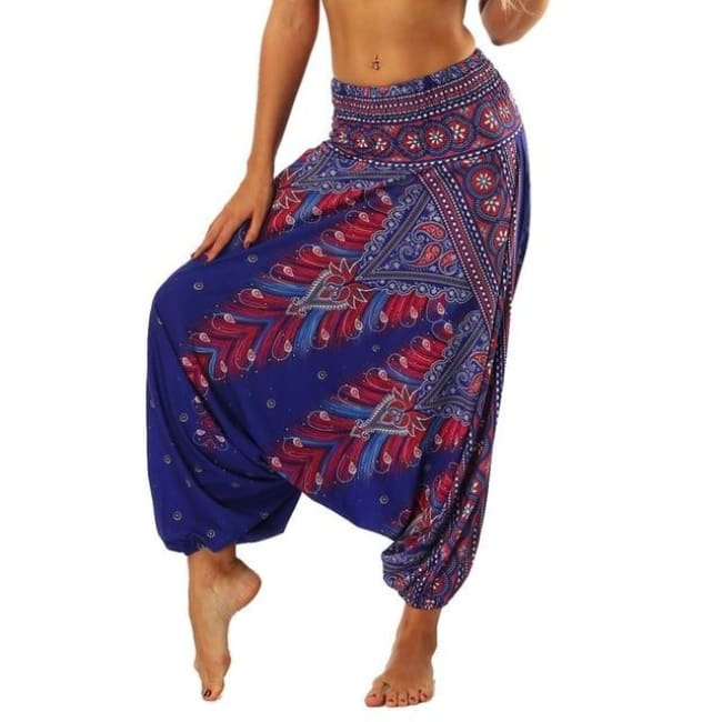 Low Leg Harem Pants One-Size Fits All So Comfortable! - Violet & Red / One Size