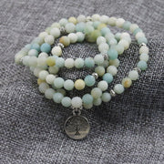 Mala 108 Bead Amazonite Necklace (Tree Of Life)
