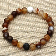 Mala Bead Agate And Lava Rock Bracelet