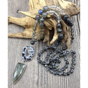 Mala Bead Necklace With Agate Geode And Labradorite Pendant