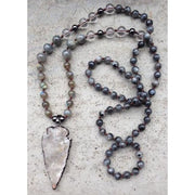 Mala Bead Necklace With Clear Quartz Arrow Pendant - Jy18