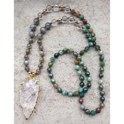 Mala Bead Necklace With Clear Quartz Arrow Pendant - Jy20