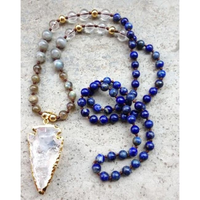 Mala Bead Necklace With Clear Quartz Arrow Pendant - Jy33