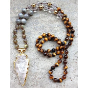 Mala Bead Necklace With Clear Quartz Arrow Pendant - Jy34