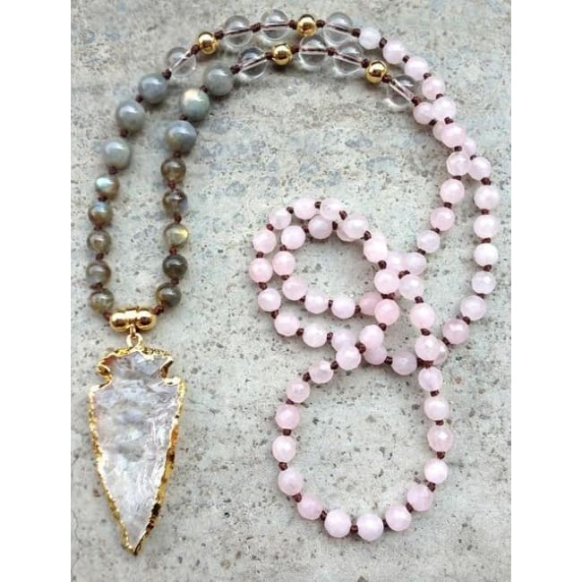 Mala Bead Necklace With Clear Quartz Arrow Pendant - Jy35