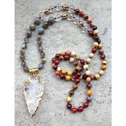 Mala Bead Necklace With Clear Quartz Arrow Pendant - Jy36