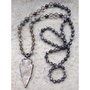 Mala Bead Necklace With Clear Quartz Arrow Pendant