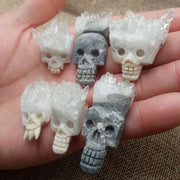 Mini Quartz Cluster Carved Skull