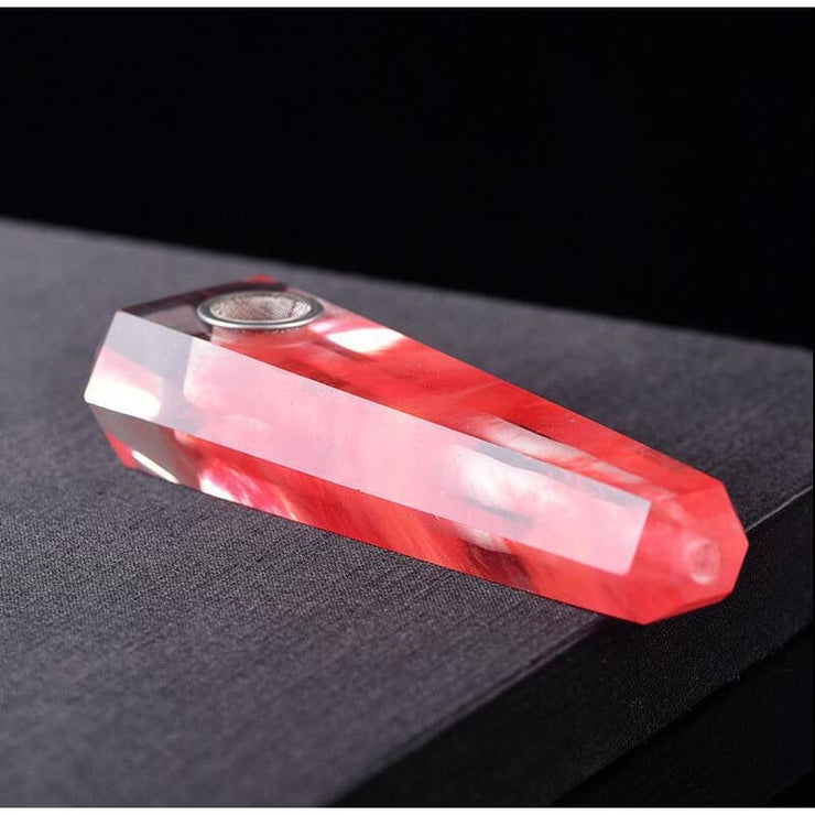 Natural Red Smelting Crystal Pipe
