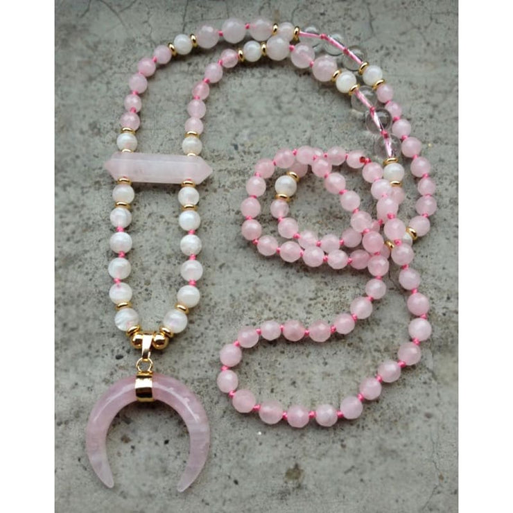 Pink Rose Quartz Moon Mala Pendant Necklace