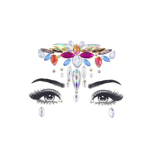 Rhinestone Gem Face Art Stickers