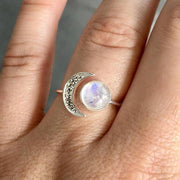 Crescent Moonstone Ring - $9 PROMO FREE SHIPPING TODAY ONLY