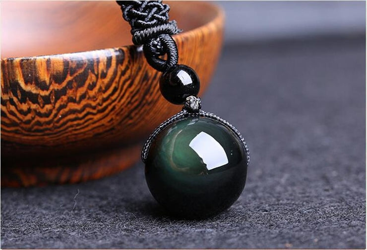 Obsidian Rainbow Eye Bead Pendant Necklace - $9 PROMO FREE SHIPPING TODAY ONLY